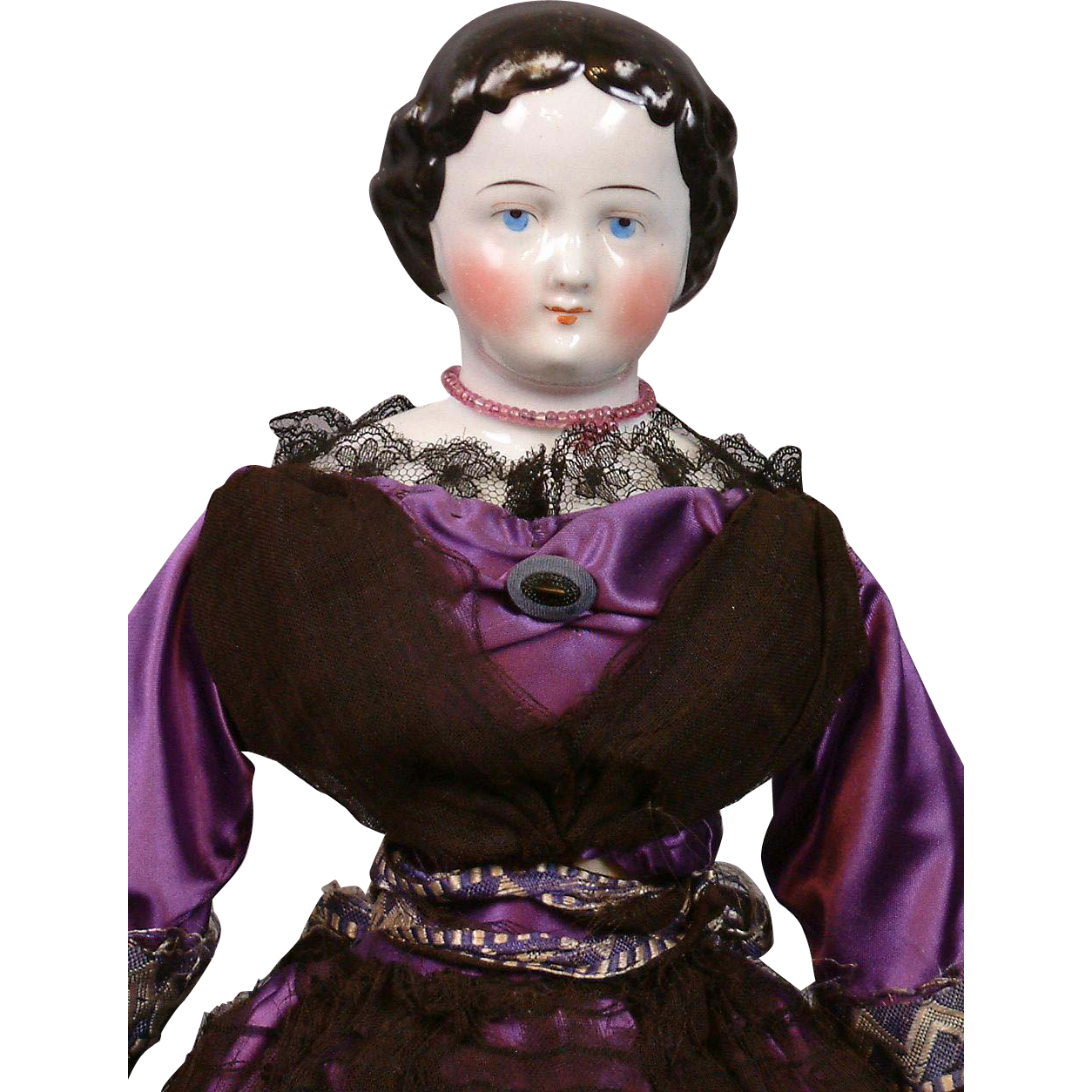 "Lovely Antique China Lady 17.5"" in Purple Silk Ensemble with Black Lace"