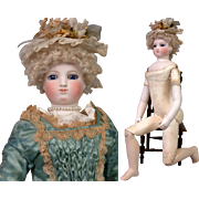 "~Wood Body~17"" Smiling Barrois Enfantine Poupee With Early Swivel Neck Fully Articulated Wooden Body & Bisque Arms~All Original!"