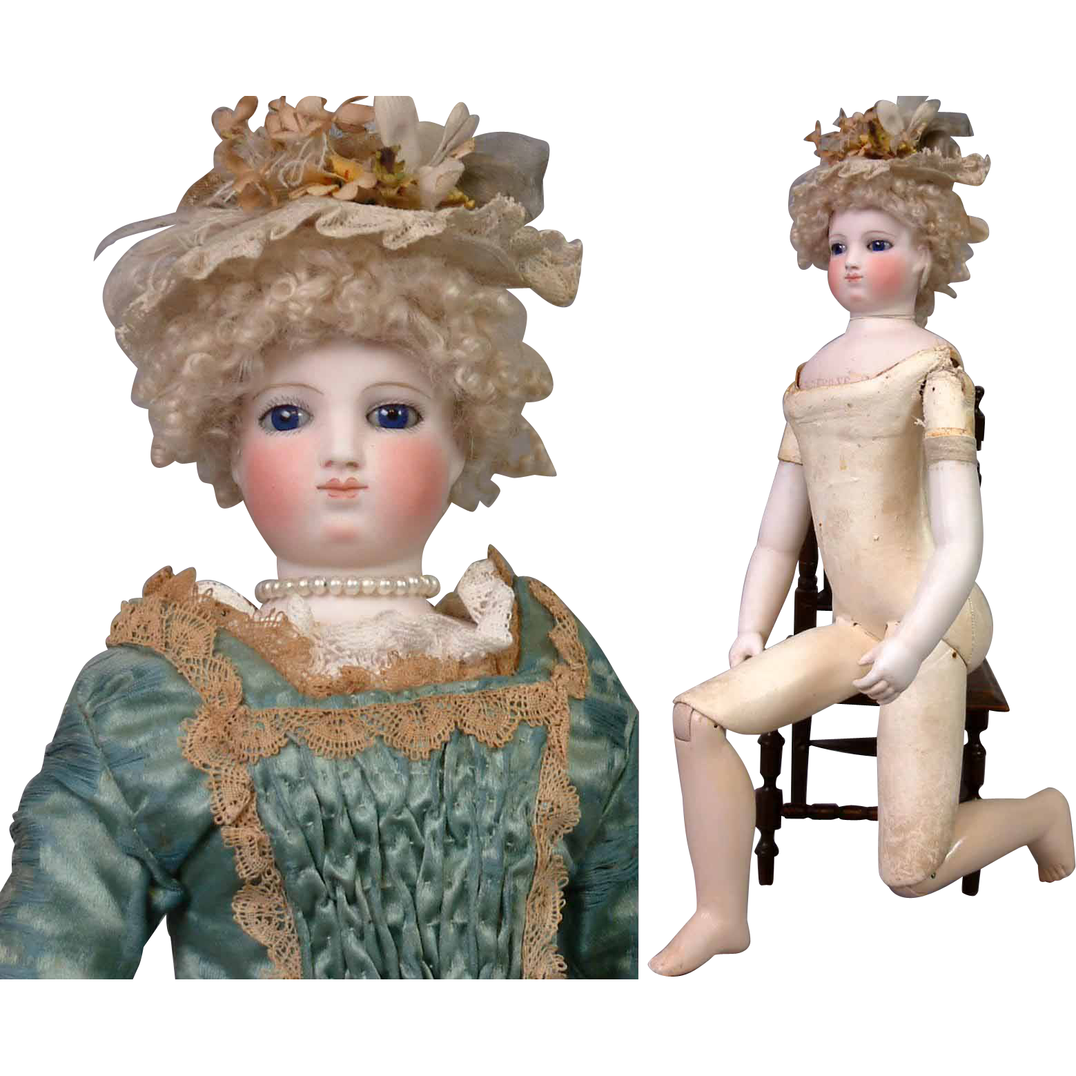 "17"" Smiling Barrois Enfantine Poupee With Early Swivel Neck Fully Articulated Wooden Body & Bisque Arms~All Original!"