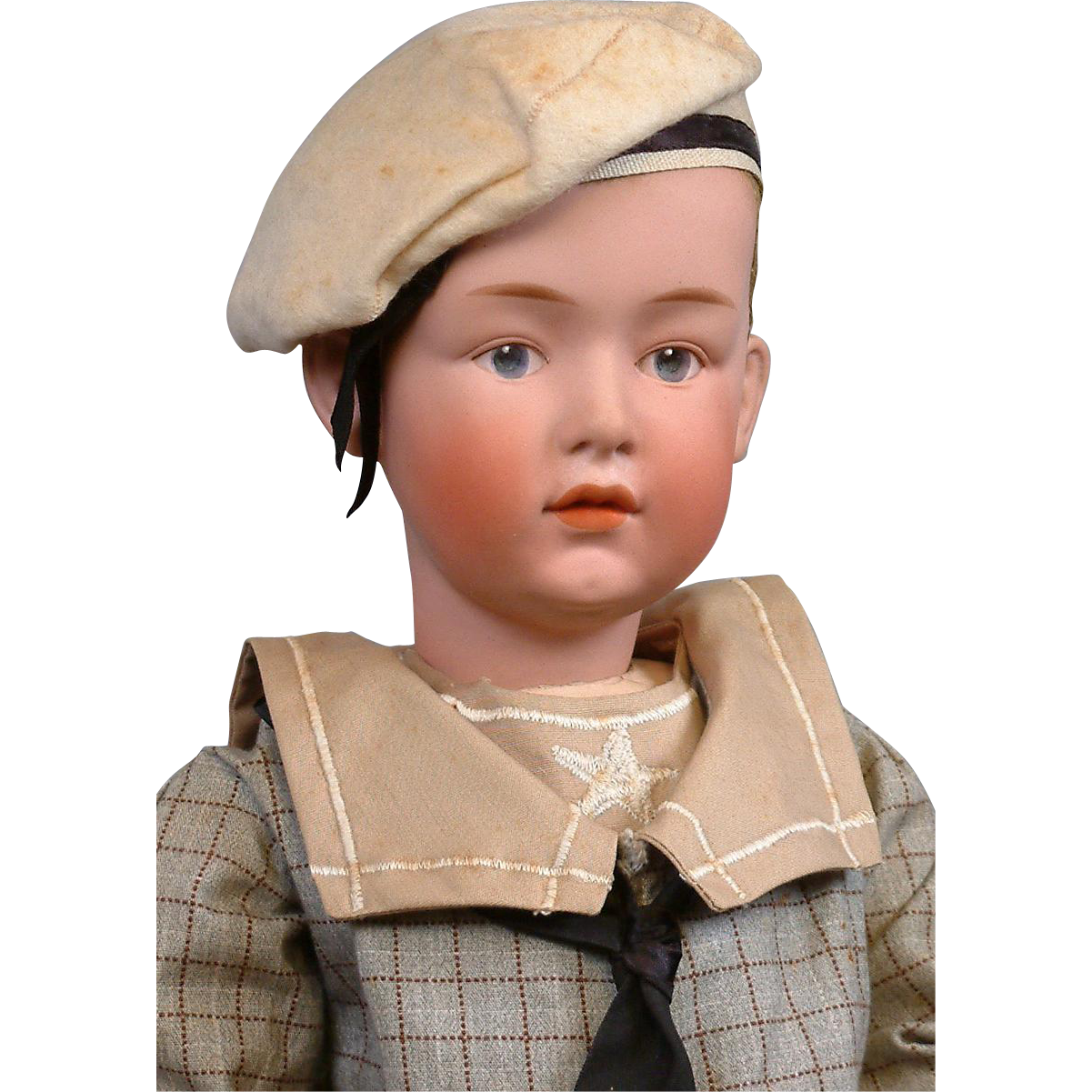 Exceptional & Rare 7603 Gebruder Heubach Pouty Character Child Boy with Flocked Hair
