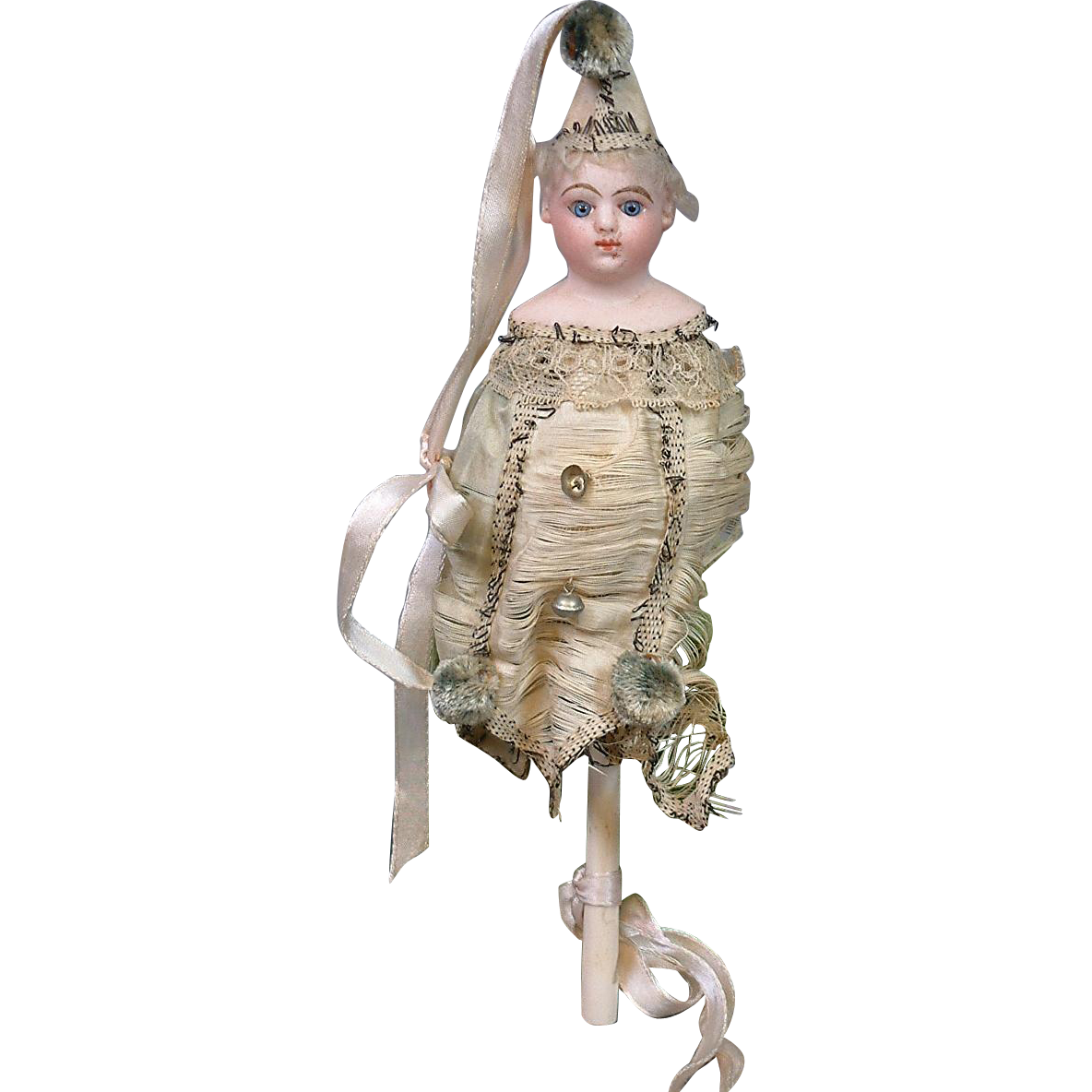 Darling Antique Marotte Bisque Girl in Jester Costume with Whistle Handle
