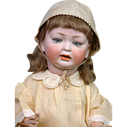 "Chunky Hertel & Schwabb 152 Antique Character Baby 21"" -- Antique Dress!"