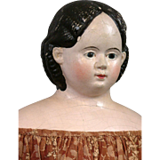 """Fabulous 26"""" Antique Greiner Papier Mache with Patent Stamped Plate, on Original Body"""