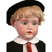 """Huge 30.5"""" Kestner 196 Antique Boy Doll in Fashionable Costume"""