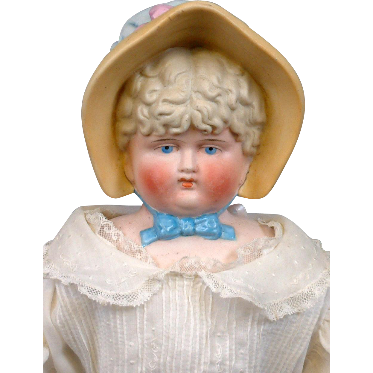"HUGE 21"" Antique Tinted Bisque Bonnet Head Lady on Antique Hand-Sewn Body"