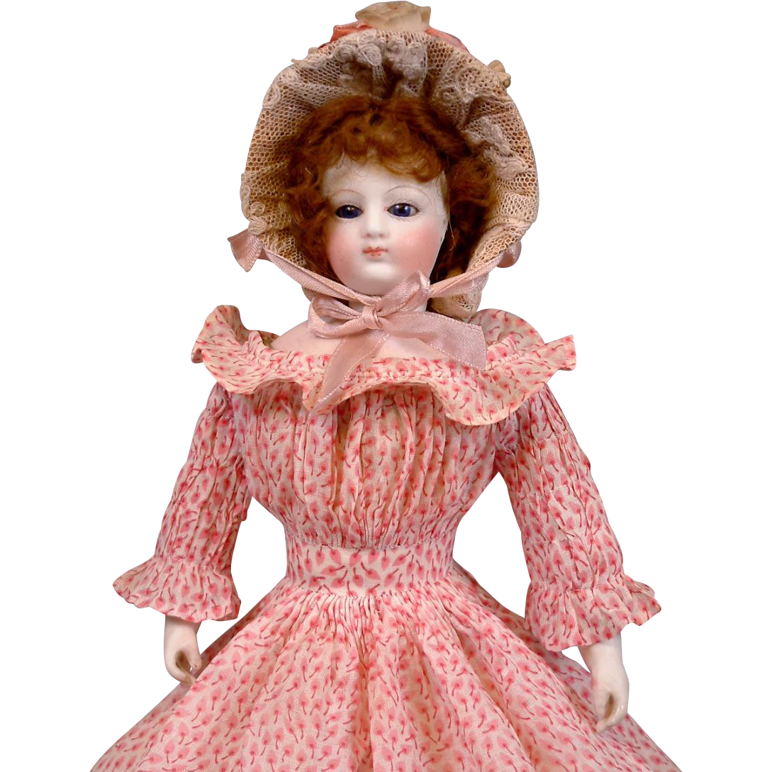 "Delicious Early 12"" Fashion Poupee With Cobalt Eyes, Bisque Hands In Original Dress C. 1865"