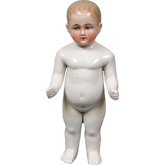 "Rare Blond & Blue-Eyed 8"" Antique Frozen Charlie ""Bathing Doll"""