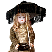 Delightful Antique Carriage Large Doll/Child's Parasol of Moire Silk With Tassel Trim And Carved Handle!