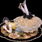 "Exquisite RARE China ""Flapper"" Half-Doll/Powder Puff Vanity Piece c.1920"