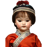 "Asian ""Oriental"" Character 14"" Antique Doll in Antique Costume Attributed to Schoenau & Hoffmeister"