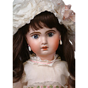 "Gorgeous 26"" 1907 French Jumeau Bebe in Pretty White Lacy Dress & Dark Human Hair Wig"