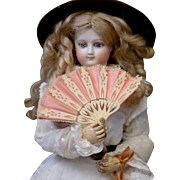 Outstanding Carved Hand Fan for Fashion Poupee C. 1878