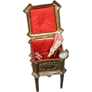 """French """"Depose"""" c.1875 Red Interior Cast-Iron Fashion Doll Accessory Casket"""