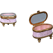 Petite Gold Wash and Pink Silk Box for Fashion Accessories c.1880
