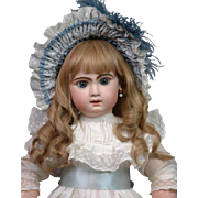 "Wonderful 26"" Tete Jumeau with Hypnotic Blue Paperweight Eyes, Antique Costume & Original Wig"