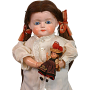 "*Christmas Morning* Antique German Papier Mache Doll 26"" with Accompanying Miniature Dolly"