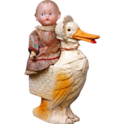 "Delightful Pairing of Rare  6.5"" Recknagel Googly & Wonderful Papier Mache Mother Goose Candy Container Circa 1915"