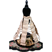 "Early c.1855 Hand-Embroidered Antique Doll Hoop Skirt 10"" Length"