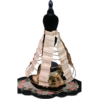 """Early c.1855 Hand-Embroidered Antique Doll Hoop Skirt 10"""" Length"""