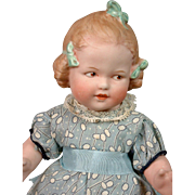 "RARE Gebruder Heubach ""Coquette"" Character Child 9"" All-Bisque Antique Doll"