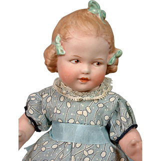 """RARE Gebruder Heubach """"Coquette"""" Character Child 9"""" All-Bisque Antique Doll"""