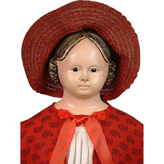 """Early 30"""" Antique Glass Eyed Greiner Paper Mache Doll~Clean Condition!"""