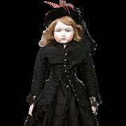 "RARE German Hueret-Style Antique Bisque Lady in Original Mourning Costume 19.5"""