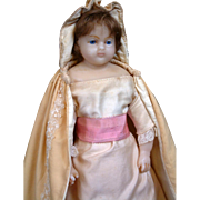 "PERFECT All Original 20.5"" Stamped Wax Child Doll Circa 1855 Attributed to Mme. Montanari of London"
