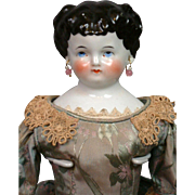 """Early Antique China Lady in Silk Presentation Gown 16.5"""""""