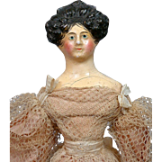 """MINT Georgian Period Milliner's Model 12.5"""" Circa 1829 All Original Silk Costume Extraordinary Apollo Top Knot Hairstyle With Comb!"""