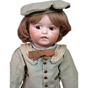 "Lanternier Limoges Antique Character Boy ""Toto"" in Sailor Costume 16.25"""