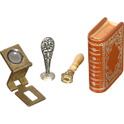 Fashion Doll Accessory Set of 2 Wax Seal Stamps, Storage Book, & Brass Frame Magnifier Lens