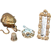 Fashion or Bebe Antique Accessories Set of Gold Crown, Thermometer, Thimble, and Walnut Sewing Etui