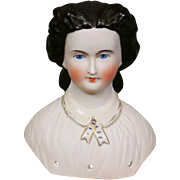 RARE Dresden-Collar Tinted Bisque Lady Head & Desirable Peaked Snood White Bisque Lady Head Antique Pair