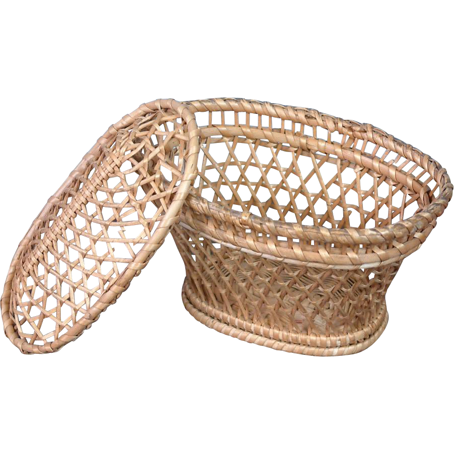 Wicker Toy Basket With Lid : Antique wicker basket fashion doll accessory with lid from