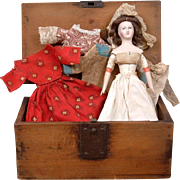 "Exceedingly Rare 8"" Pauline Papier Mache Lady C. 1850 With Generational Trousseau in Near Mint Condition!"