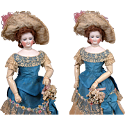 """Museum Ready 17.5"""" Smiling Bru Poupee With Articulated Wooden Arms In Antique Silk Ballgown~WOAH!"""