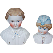 Pair of Antique Parian Boy Shoulder Heads in Mint Antique Condition