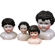 Lot of Four Antique China Dolls Heads in Varying Sizes c.1865-70