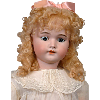 "Simon & Halbig 1079 DEP 29.5"" Antique Bisque Girl Doll in Antique Costume & Earrings"