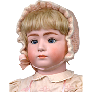 "Large & Chunky 24"" Gebruder Heubach 7246 Pouty Child with Rare Mechanical Keywind Head & Eyes--Enchanting!"
