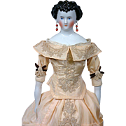 """Princess Dagmar Antique China Lady with Desirable High-Heeled Shoes 22"""""""