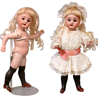 "RARE + LARGE 8.5"" Simon & Halbig 886 Character All Bisque With Long Black Stockings & All Original"