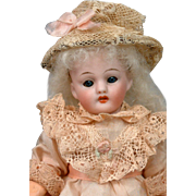 "Simon & Halbig ""Flapper"" 7.5"" Antique Bisque Girl with Blue Sleep Eyes"
