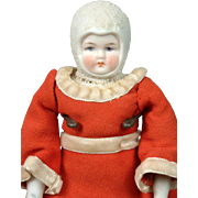 """Antique German """"Snow Baby"""" Parian Doll 8"""" in Original Holiday Costume"""