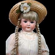 """Huge Handwerck 109 Antique Bisque Child Doll 30.5"""" in Antique Dress"""