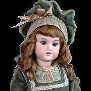 """George Bordfelt Antique Bisque Child Doll 24.5"""" in Green Presentation Costume"""