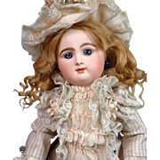 "Delightful 13.5"" Rabery & Delphieu Bebe with Massive Bleu Eyes In Silk Ensemble"