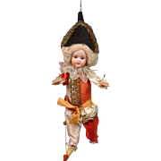 RARE Polichinelle Marionette by Schoneau & Hoffmeister 1909 ALL-ORIGINAL Silk Costume 17""