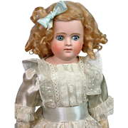 "Desirable A.T. Kestner Child Doll 15.5"" with Paperweight Eyes & Closed Mouth"